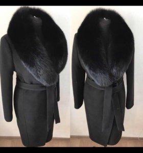 Пальто халат с меховым натуральным воротником