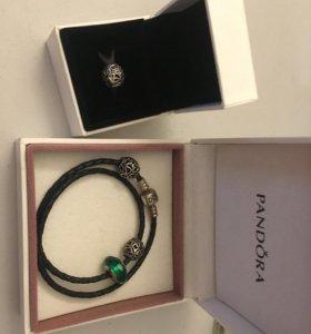 Pandora оригинал кожаный браслет и три шарма