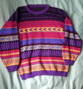 Яркий винтажный свитер в полоску, оверсайз 80-ые