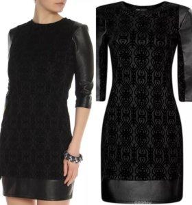 Платье новое с кожаной отделкой
