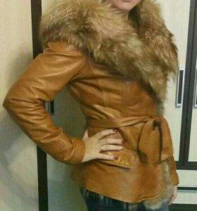 Кожаная куртка осень-теплая зима-весна