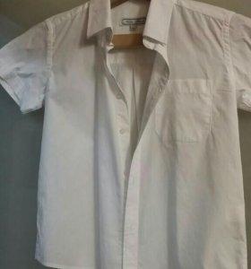 Белая рубашка с коротким рукавом рост 140