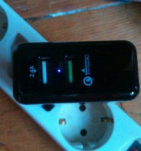 Зарядное устройство на 2 USB порта + 3 кабеля