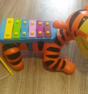 Ксилофон каталка тигр+ подарок игрушка магнит