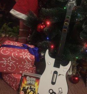 Гитара + диск Guitar Hero world tour . Для Ps3