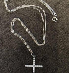 Цепочка+крестик серебро