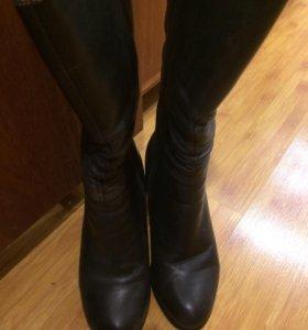 Тёплые кожаные сапоги, почти новые