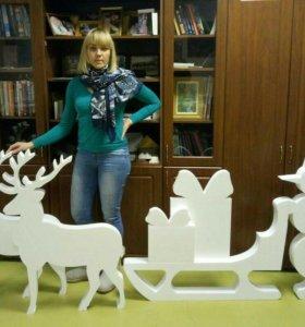 Снежинки, снеговики, елочки, мишки из пенопласта