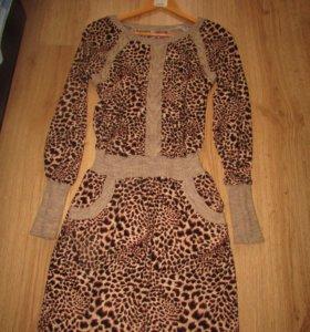 Платье леопардовое трикотажное