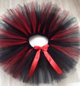 Юбка пачка черно-красная