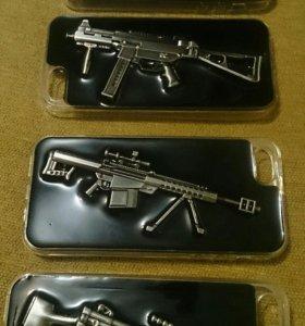 Айфон,3D силикон чехлы, GUNS, на модели: 5-5s-Se