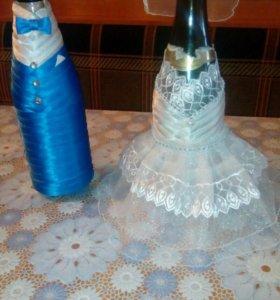 Украшения на свадебное шампанское