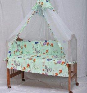 Комплект в кроватку 5 предмета+держатель балдахина