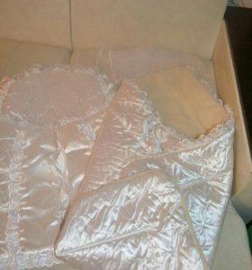 2в1:конверт и одеяло на овчине на выписку