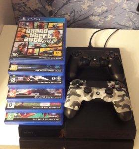Приставка PS4 + 2 DualShock 4 + 6 игр