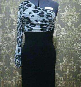 Платье трикотажное новое чёрное леопард шифон