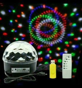 Новогодний диско-шар с пультом и флэшкой