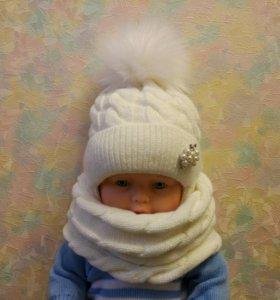 Новый комплект шапка+снуд 46-48 см.