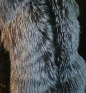 Куртка кожаная зимняя с мехом чернобурки