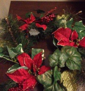 Новогодний венок,подсвечник и мишура(рождественск)