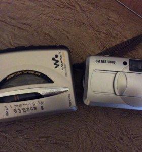 Фотоаппарат пленочный, плеер кассетный