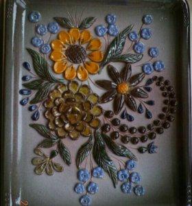 """Большое настенное панно """"Цветы"""", керамика"""