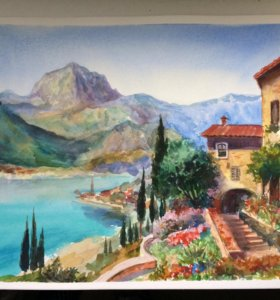 "Картина акварелью ""Вид на озеро Комо"""