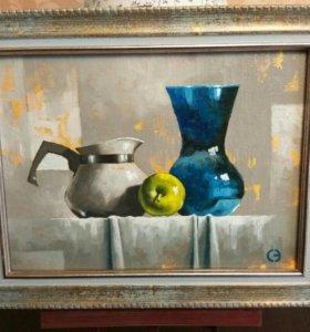 """Картина """"Натюрморт с яблоком"""". Холст, масло."""