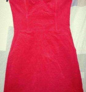 Платье вельвет красное новое