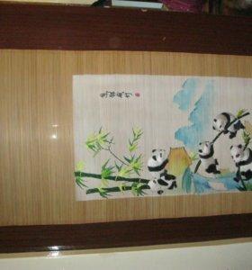 """Картина на бамбуке """" Панды"""""""
