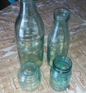 Бутылки банки СССР из под сметаны