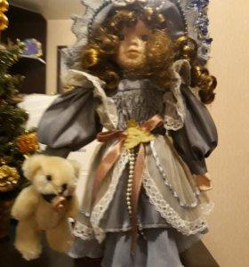 Кукла керамическая с мягконабивным туловищем