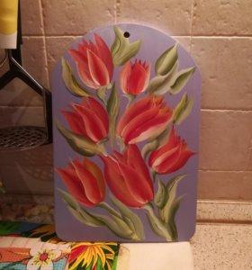 Разделочная доска - Тюльпаны