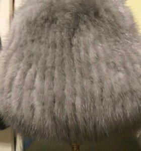 Вязаная норковая шапка