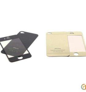 Защитная пленка-стекло 2 в 1 для iPhone 4/4S