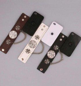 Панель для iPhone 4/4S с кожаным браслетом на руку