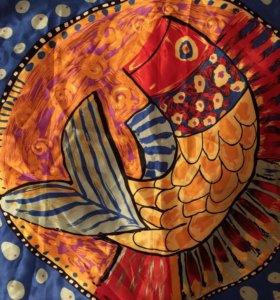 Платок шарф на шею с рыбкой