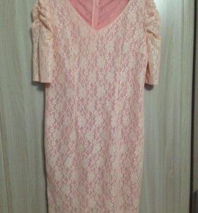 Платье розовое кружево(новое)