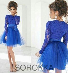 Милое синее платье