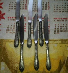Ножи столовые мельхиор серебрение зiш мнц