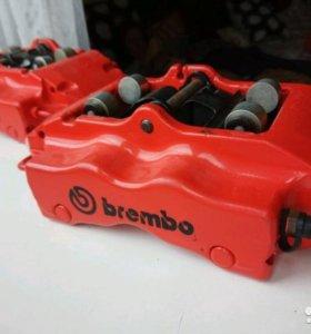 Суппорта BREMBO 4х поршневые, новые колодки HAWK.