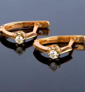 Золотые серьги 585 пробы с бриллиантами 0,11 ct