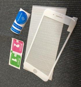 Защитное 3Д 3D стекло пленка на белый iPhone 7