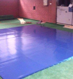 Борцовский ковер для тренировок четвёрка, синий