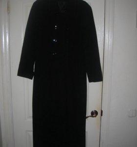 драповое длинное пальто классика