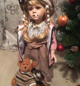Новая фарфоровая кукла 66 см в коробке торг