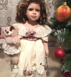 Новая, фарфоровая кукла с мишкой 50 см ТОРГ