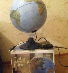 Глобус школьный с подсветкой новый