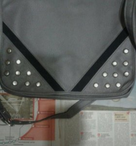 сумка новая кожа серая разм 35×30×10