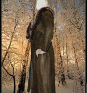 Пальто нубук кожа натуральная и мех натуральный